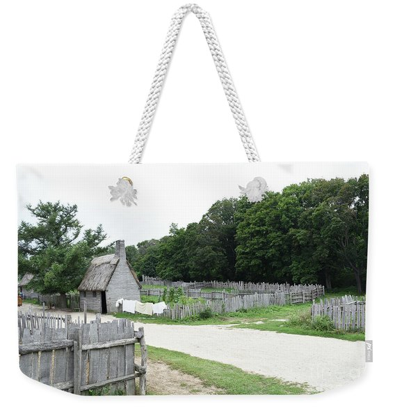 Thatched Houses And Fenced Pastures In A Colonial Village Weekender Tote Bag