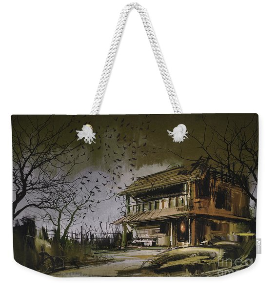 Weekender Tote Bag featuring the painting The Abandoned House by Tithi Luadthong