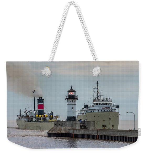 The Alpena And The Lighthouse Weekender Tote Bag