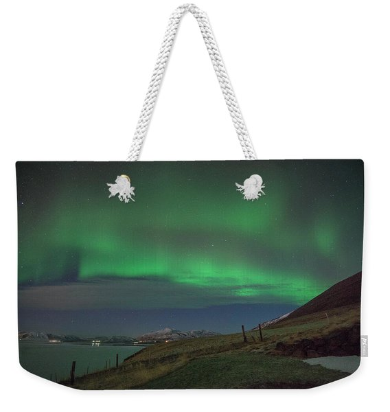 The Aurora Borealis Over Iceland Weekender Tote Bag