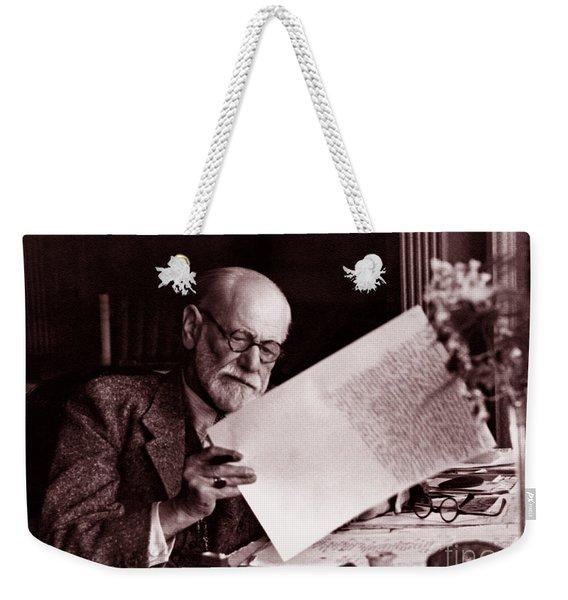 The Austrian Neurologist Sigmund Freud At His Desk Weekender Tote Bag