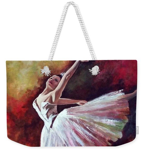 Weekender Tote Bag featuring the painting The Dancer Tilting - Adaptation Of Degas Artwork by Rosario Piazza