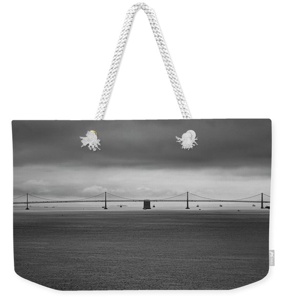 The Bay Bridge B/w Weekender Tote Bag