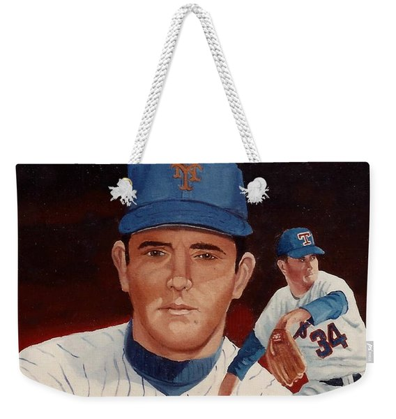Weekender Tote Bag featuring the painting From The Mets To The Rangers by Rosario Piazza