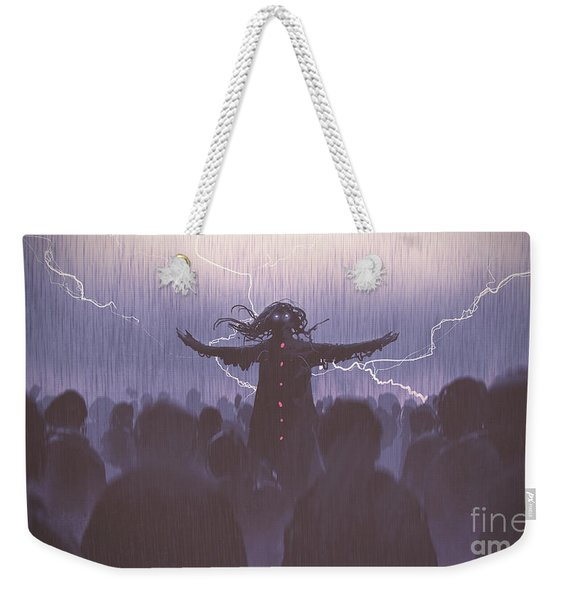 Weekender Tote Bag featuring the painting The Black Wizard by Tithi Luadthong