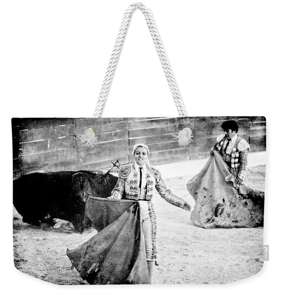 The Blond, The Bull And The Coup De Gras Bullfight Weekender Tote Bag