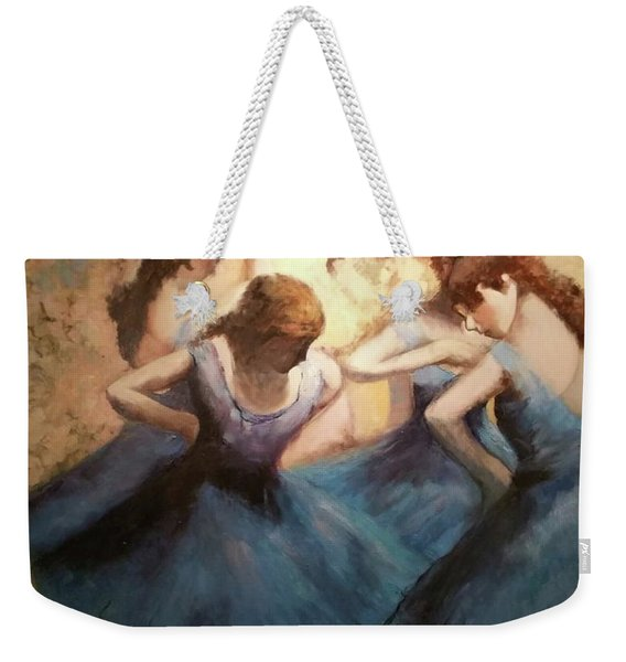 Weekender Tote Bag featuring the painting The Blue Ballerinas - A Edgar Degas Artwork Adaptation by Rosario Piazza