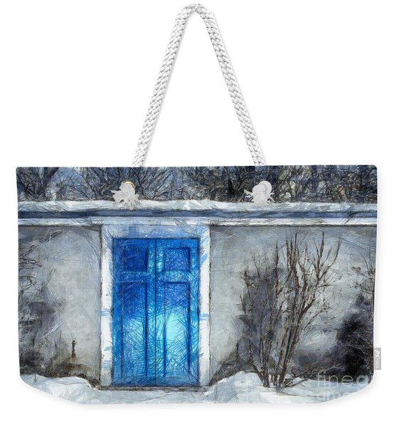 The Blue Door Beckons Pencil Weekender Tote Bag