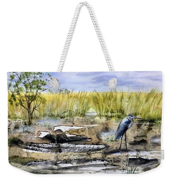 The Blue Egret Weekender Tote Bag