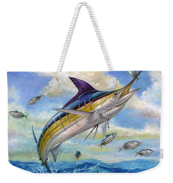 The Blue Marlin Leaping To Eat Weekender Tote Bag