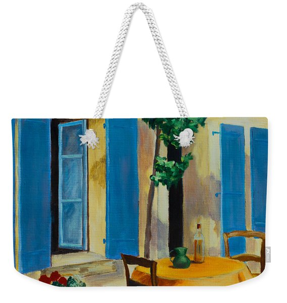 The Blue Shutters Weekender Tote Bag