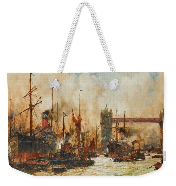 The Bustling River Below Tower Bridge Weekender Tote Bag