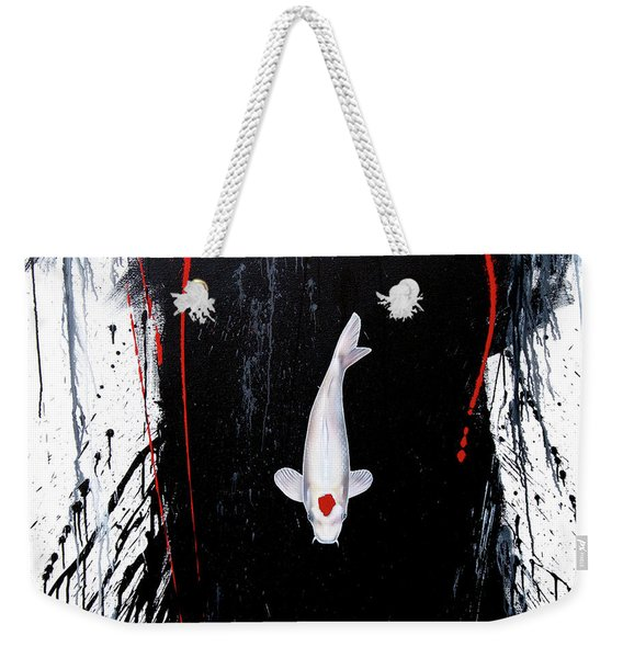 Weekender Tote Bag featuring the painting The Calm by Sandi Baker