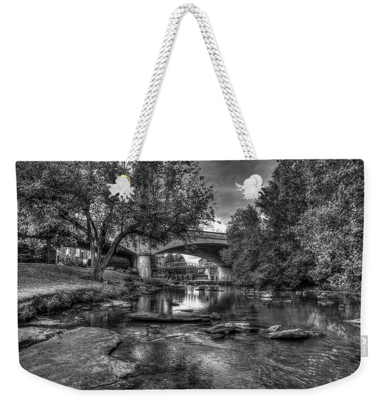 The Center Of Town B W Reedy River Falls Park Greenville South Carolina Art Weekender Tote Bag