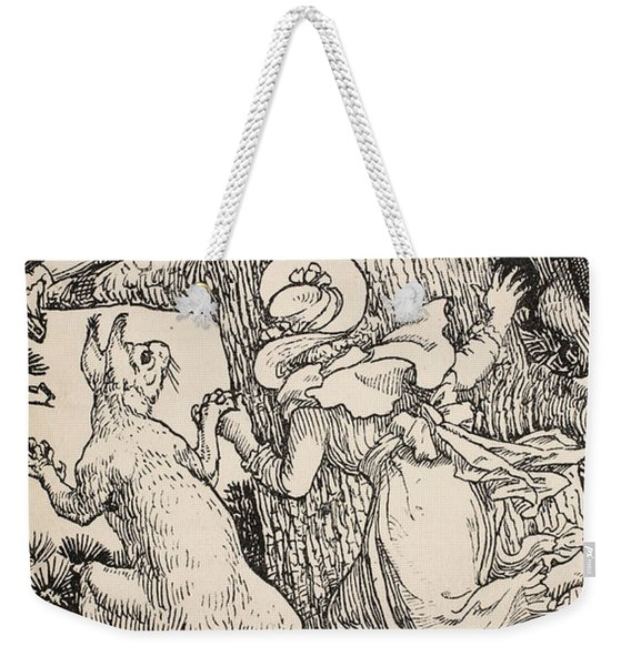 The Children Climbed The Christmas Tree With Animals And All Weekender Tote Bag