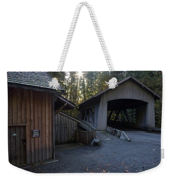The Covered Bridge At Cedar Creeks Grist Mill Weekender Tote Bag