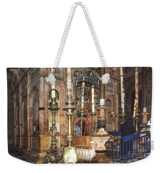 Weekender Tote Bag featuring the photograph The Empty Tomb Of Christ by Mae Wertz