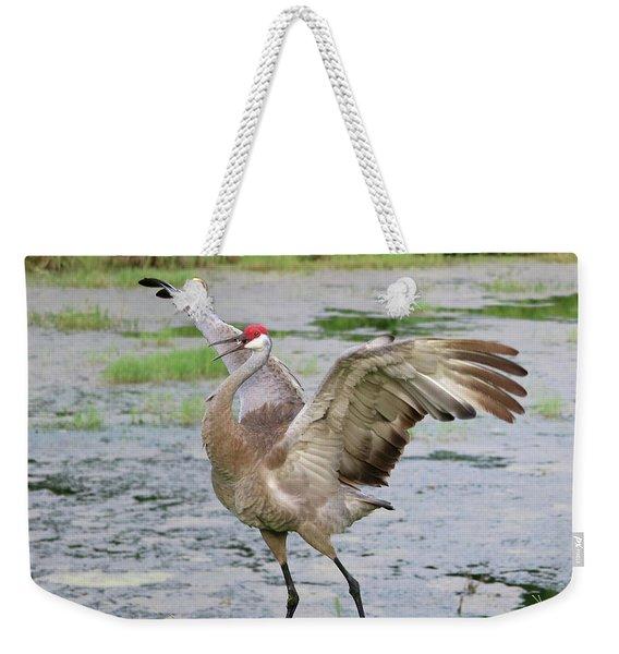 The Entertainer Sandhill Crane Weekender Tote Bag