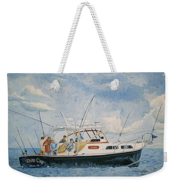 Weekender Tote Bag featuring the painting The Fishing Charter - Cape Cod Bay by Dominic White