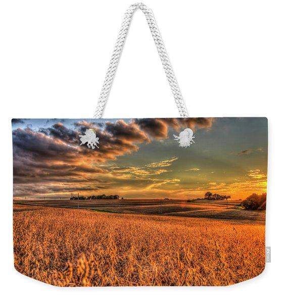 The Fleeting Sunset Missouri Soybean Farming Art  Weekender Tote Bag