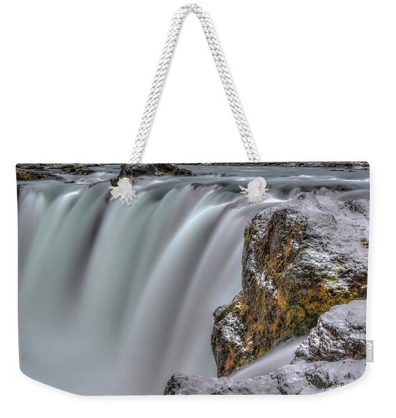 The Flowing Godafoss Falls Weekender Tote Bag