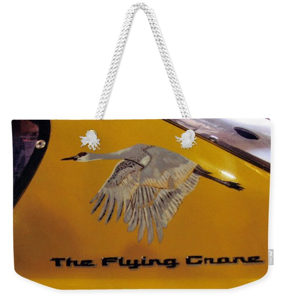 Weekender Tote Bag featuring the painting The Flying Crane by Richard Le Page