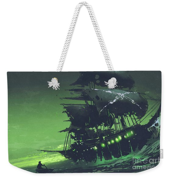 Weekender Tote Bag featuring the painting The Flying Dutchman by Tithi Luadthong