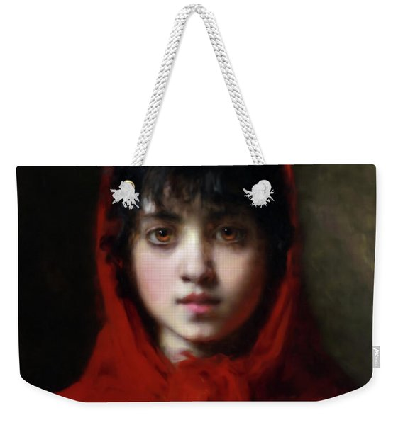 The Girl In The Red Shawl Weekender Tote Bag