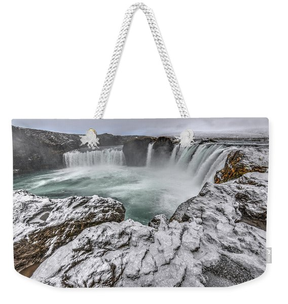 The Godafoss Falls In Winter Weekender Tote Bag