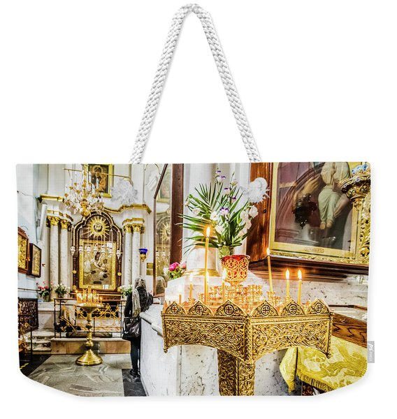 The Golden Candle Stand Weekender Tote Bag