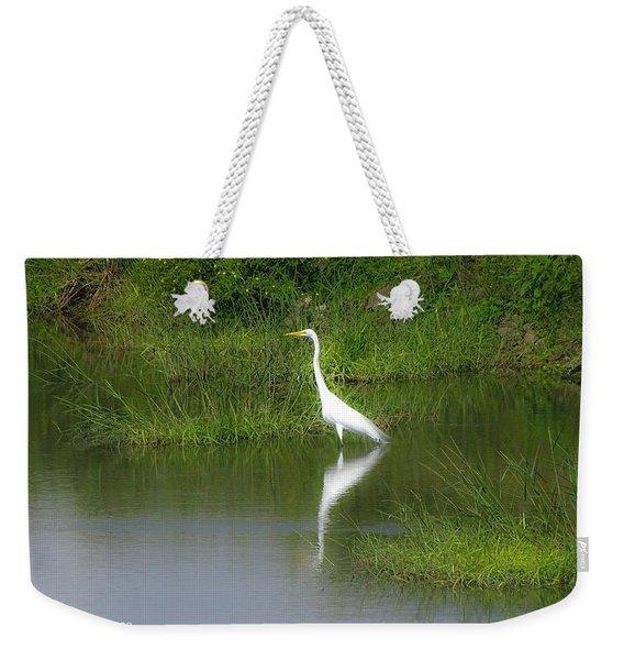 Great Egret By The Waters Edge Weekender Tote Bag