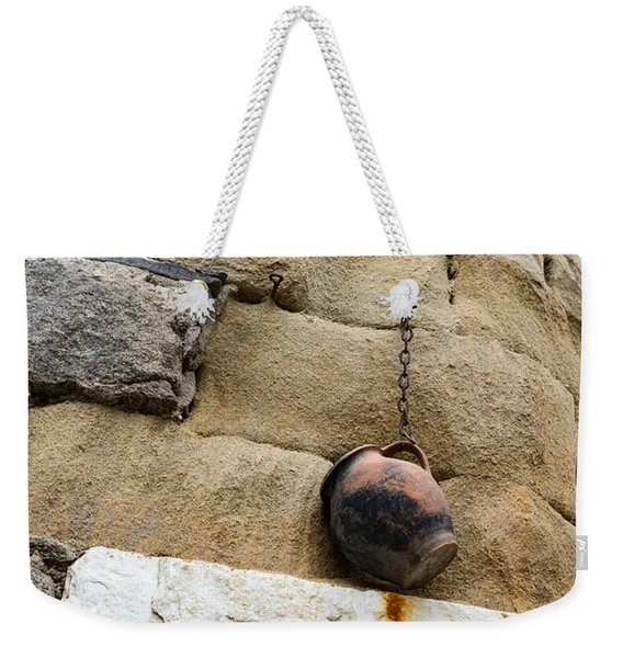 The Hanging Jar - Rough Weathered Stones Rust And Ceramics - A Vertical View Weekender Tote Bag