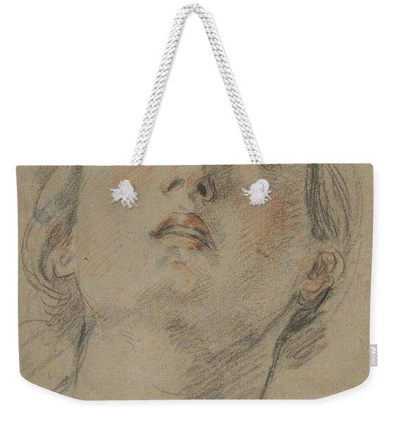 The Head Of A Woman Looking Up Weekender Tote Bag