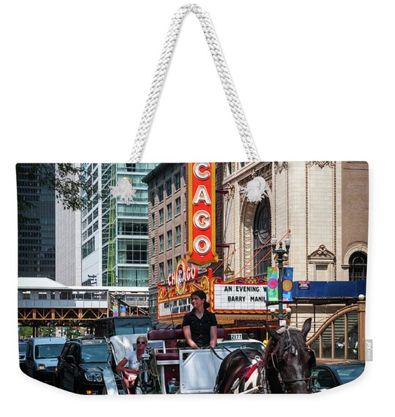 The Iconic Chicago Theater Sign And Traffic On State Street Weekender Tote Bag