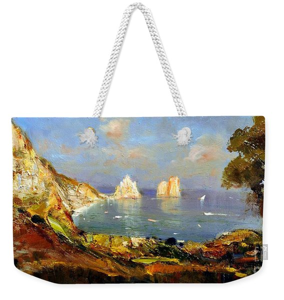 Weekender Tote Bag featuring the painting The Island Of Capri And The Faraglioni by Rosario Piazza