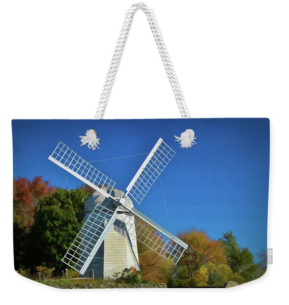 Weekender Tote Bag featuring the photograph The Jamestown Windmill by Nancy De Flon