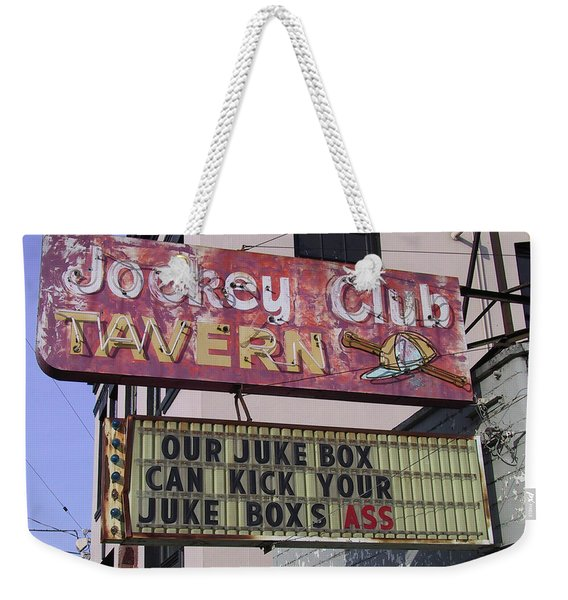 Weekender Tote Bag featuring the photograph The Jockey Club by Frank DiMarco