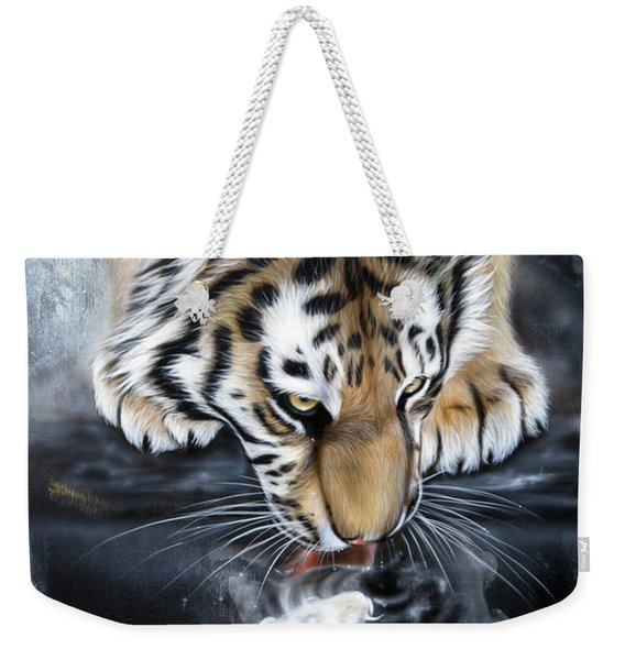 Weekender Tote Bag featuring the painting The Kiss by Sandi Baker