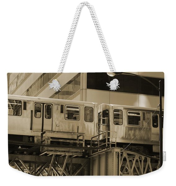 The L Downtown Chicago In Sepia Weekender Tote Bag