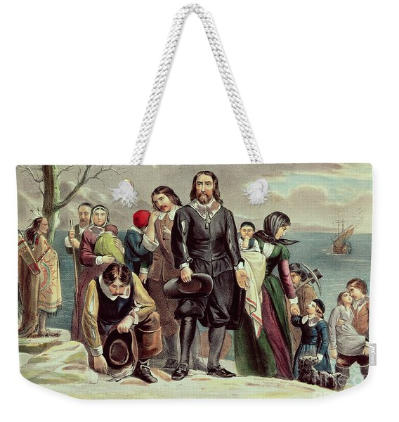 The Landing Of The Pilgrims At Plymouth Weekender Tote Bag