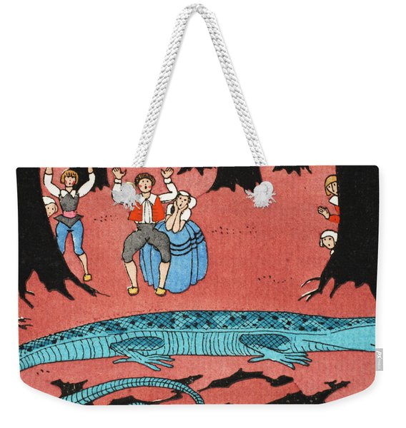 The Large Blue Lizard Weekender Tote Bag