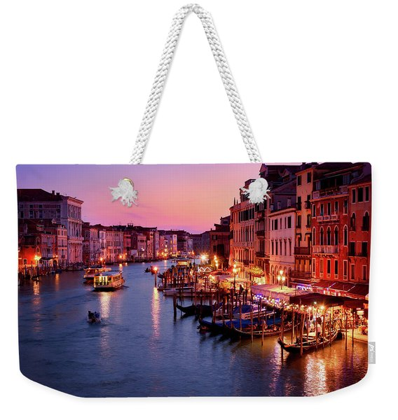 The Blue Hour From The Rialto Bridge In Venice, Italy Weekender Tote Bag