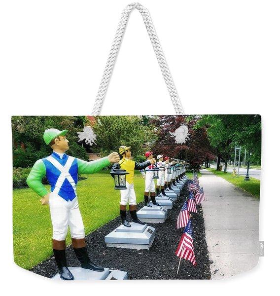 The Lawn Jockeys Of Saratoga Springs Weekender Tote Bag