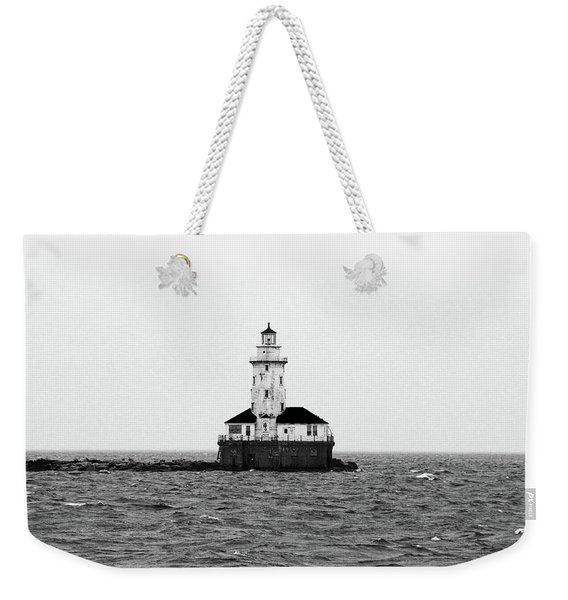 The Lighthouse Black And White Weekender Tote Bag
