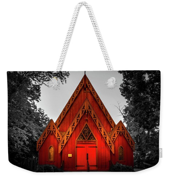 The Little Red Church In Black And White Weekender Tote Bag