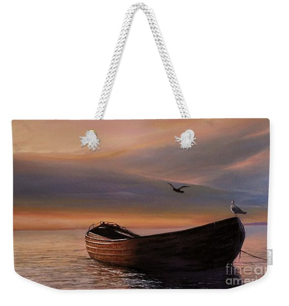 Weekender Tote Bag featuring the painting A Lone Boat by Rosario Piazza