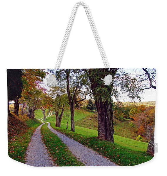 The Long Road In Autumn Weekender Tote Bag