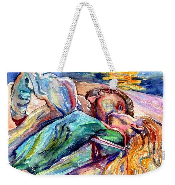 The Lovers Watercolor Weekender Tote Bag