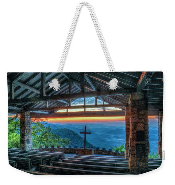 The Majestic View Pretty Place Chapel Great Smoky Mountains Art Weekender Tote Bag