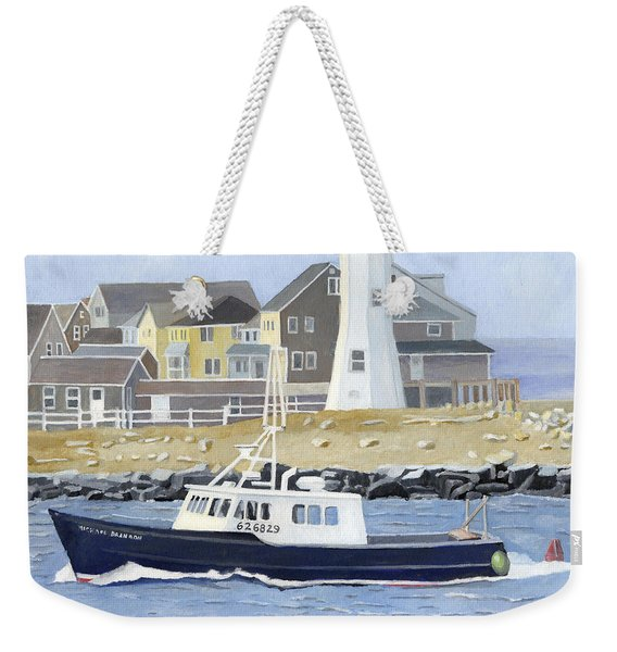 Weekender Tote Bag featuring the painting The Michael Brandon by Dominic White